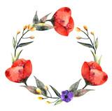 Wedding poppy watercolor wreath