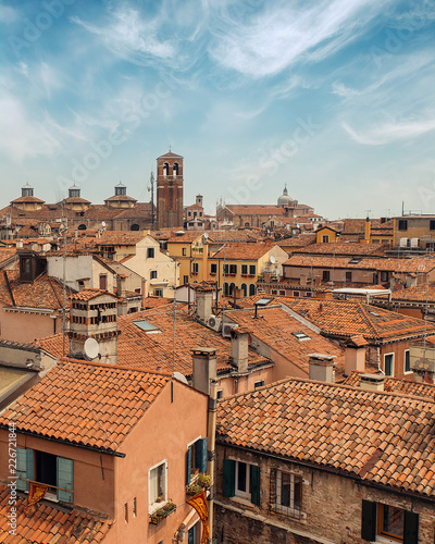 View of tiled rooftops in Venice, Italy
