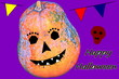 Leinwandbild Motiv Holiday Happy Halloween. Decorations in the form of a pumpkin.