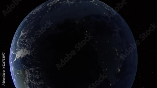 Realistic 3d animated earth showing Africa at nighttime in 4K resolution