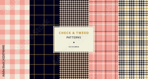 Check and tweed seamless patterns set - 226746448