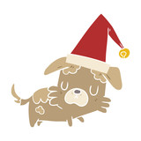 flat color style cartoon little dog in christmas hat