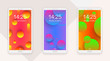 Smartphone mockup themes set, vector illustration, front view. Abstract gradient circles, vivid colors, motion fluid design.  - 226752446