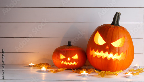 Halloween pumpkins and candles - 226752477