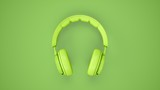 3D Rendering Green headphones isolated on green background