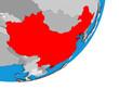 China on blue political 3D globe.