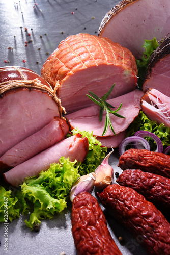 Composition with assorted meat products - 226764467