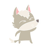flat color style cartoon wolf whistling