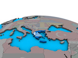 Greece with embedded national flag on political 3D globe.