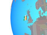 Ireland with embedded national flag on blue political globe.