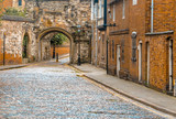 Street with stone pavement, medieval center of Leicester, England