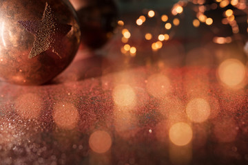 Christmas balls and golden bokeh