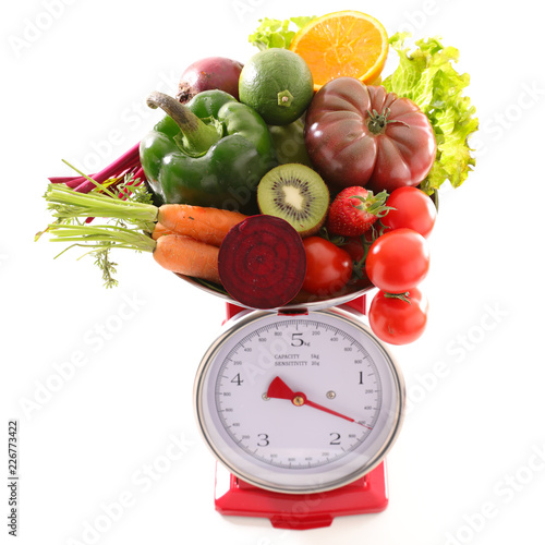 Foto Murales raw fruit and vegetable, diet concept