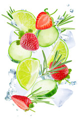 Lime, cucumber, strawberry and rosemary flying with ices and water splash isolated