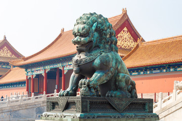 Lion at the entrance to the Imperial Palace. Beijing. China.