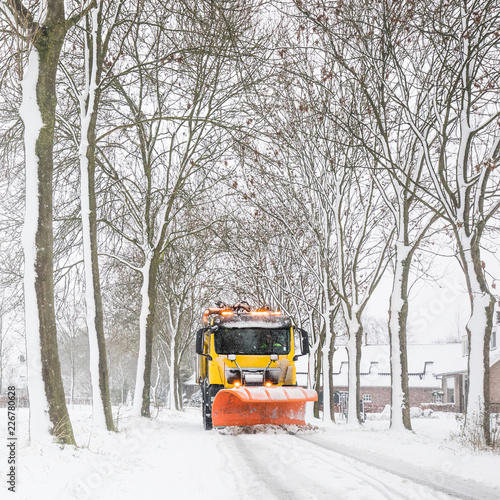 snowplow clearing road, winter service