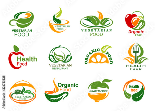 Sticker Vegetarian and vegan organic food icons