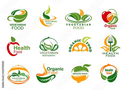 Vegetarian and vegan organic food icons