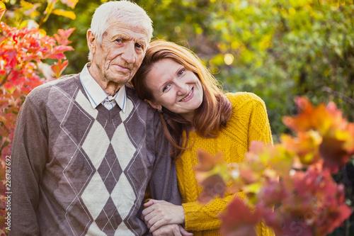 Leinwanddruck Bild happy family - grandfather and granddaughter