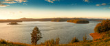 Beautiful panorama of Lake Solina at sunrise. Bieszczady, Poland.