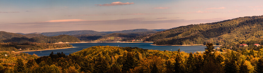 Beautiful panorama of Lake Solina at sunset. Bieszczady, Poland.