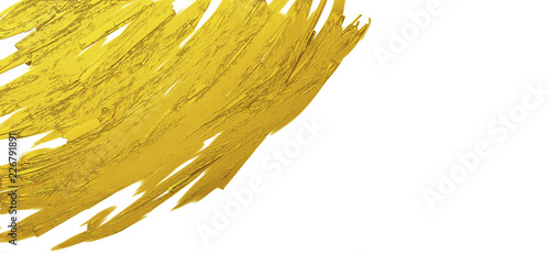 Gold brush stroke texture on white background