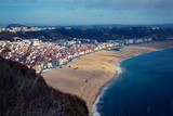 View on portuguese city Nazare and ocean