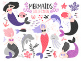 Mermaids collection. Underwater sea mermaid girls from fairytale with algae and corals, dolphin and jellyfish vector illustration
