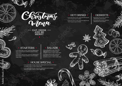 Christmas menu. Chalkboard restaurant and cafe template - 226795611