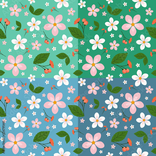 Spring flowers floral pattern vector background - 226795641