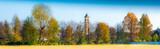 panorama di campagna con campanile
