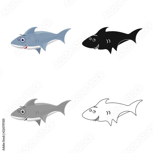 Fototapeta Isolated object of sea and animal sign. Set of sea and marine stock symbol for web.