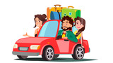 Family With Children Going In The Car On Vacation Vector. Isolated Illustration