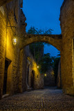 Medieval street in the old town of Rhodes