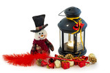Snowman and lantern with christmas decors on white background