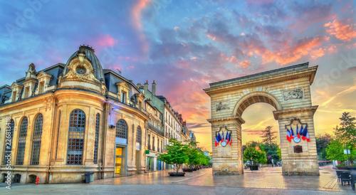 Leinwandbild Motiv The Guillaume Gate at sunset in Dijon, France