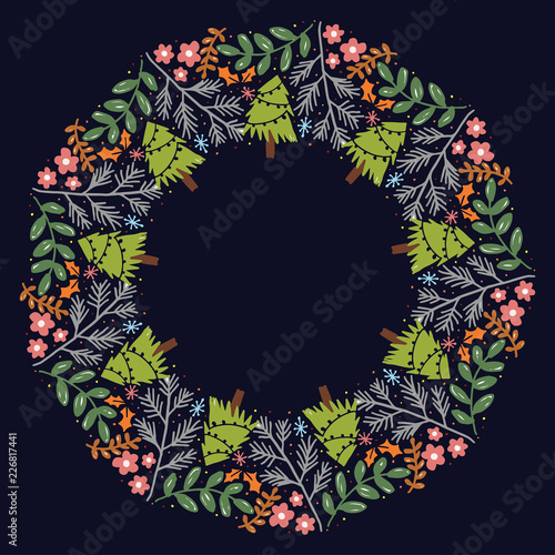 Christmas Hand Drawn Wreath with Round Frame for Cards Design Vector Layout with Copyspace Can be use for Decorative Kit, Invitations, Greeting Cards, Blogs, Posters, Merry X'mas and Happy New Year. - 226817441