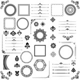 Vintage set of vector horizontal, square and round elements. Different black elements for backgrounds, frames and monograms. Classic patterns. Set of vintage patterns - 226823008