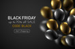 Black friday sale promo poster with gold and black shiny balloons. - 226832667