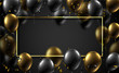 Festive background with rectangular frame, shiny balloons and serpentine.