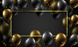 Festive background with rectangular frame, shiny balloons and serpentine. - 226832898