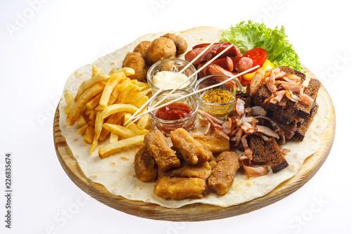 beer set fried potatoes pork - 226835674