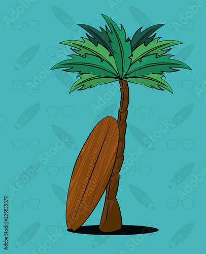 Tropical surfing lifestyle theme - 226835877