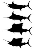 Set of silhouettes blue marlin and swordfish on a white background. Vector illustration