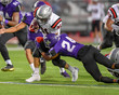 Quadro High School Football player in action during a game in South Texas