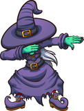 Dabbing cartoon witch. Vector illustration with simple gradients. All in a single layer.