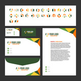 Corporate Stationary Template Design with Logo Inside (Business Card, Letterhead, Envelope) - 226843049
