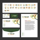 Corporate Stationary Template Design with Logo Inside (Business Card, Letterhead, Envelope) - 226843605