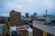 Skyline of San Antonio Texas looking downtown from above River Walk in the Early Morning