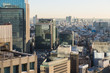 architecture and urban concept - skyscrapers or office buildings in downtown of tokyo city, japan